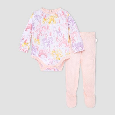 Burt's Bees Baby® Baby Girls' Elephant Bodysuit and Honeycomb Pointelle Pants Set - Pink