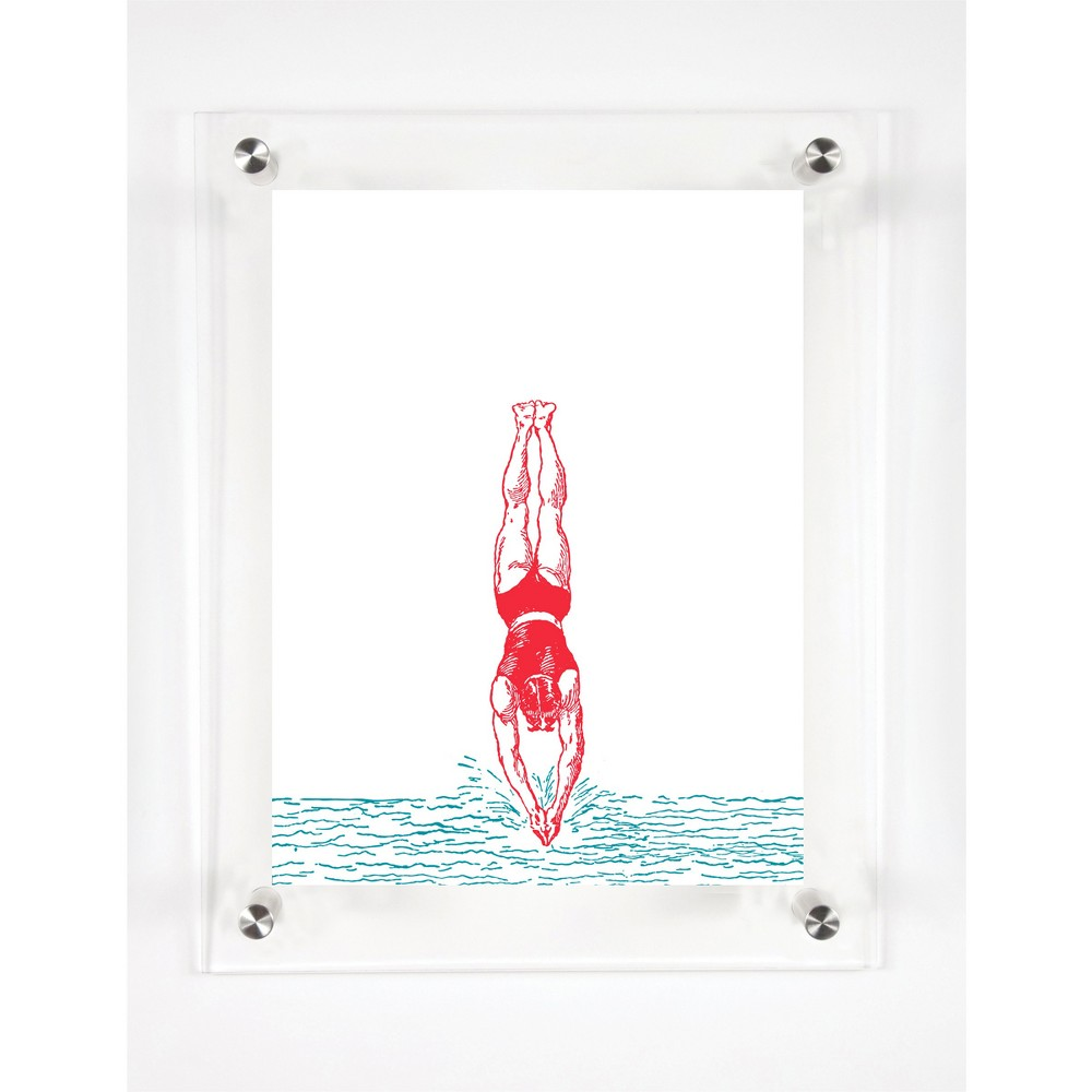 Mitchell Black Divers In the Water Decorative Framed Wall Canvas Coral (12