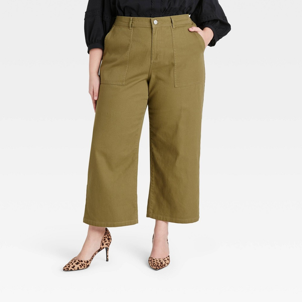 Women 39 S Plus Size High Rise Wide Leg Pants Who What Wear 8482 Deep Olive 20w
