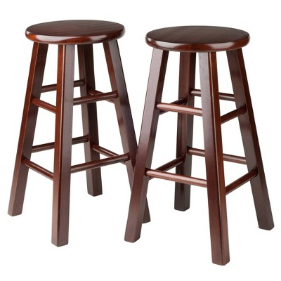 "2pc 24"" Pacey Bar Stool Set Antique Walnut - Winsome"