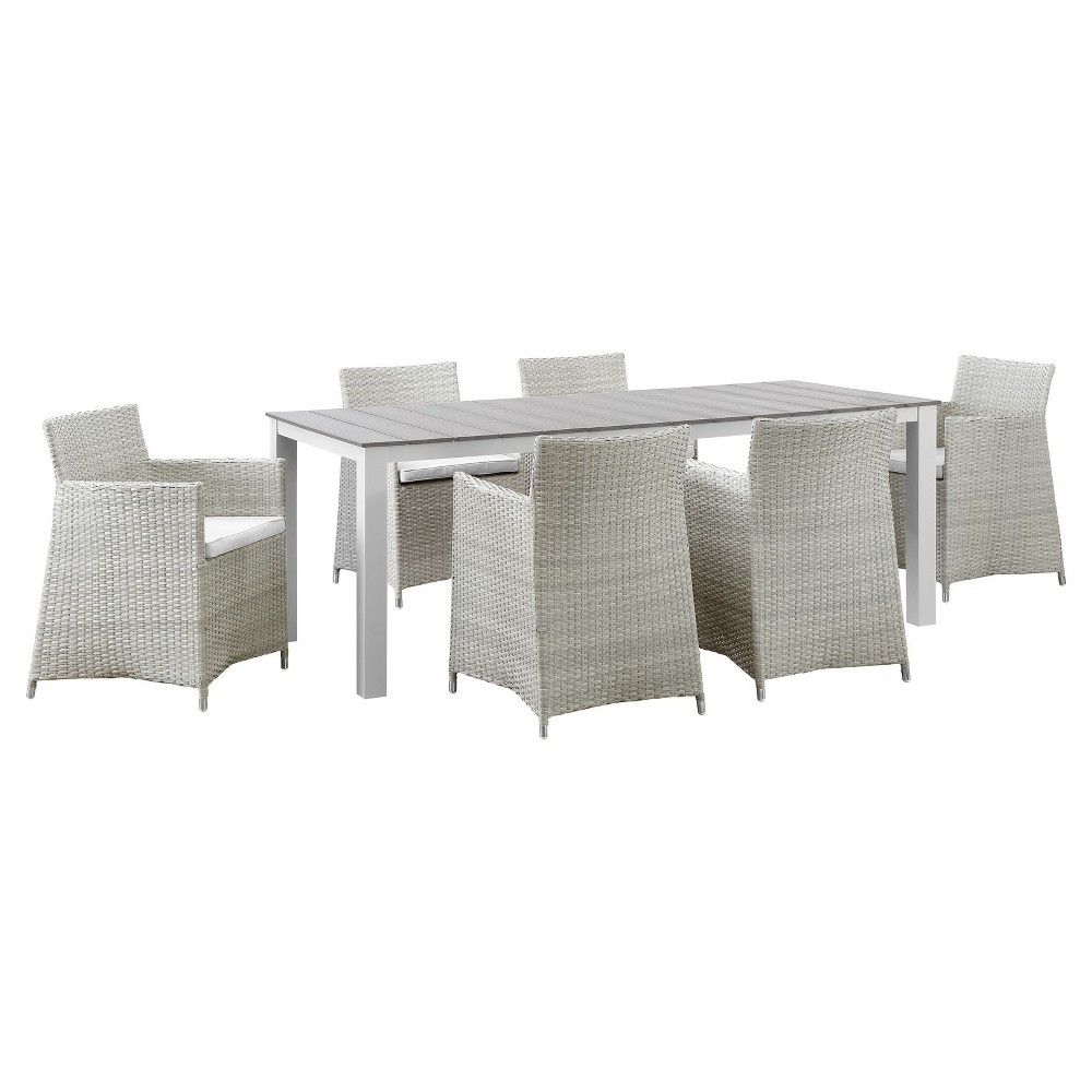 Junction 7pc Rectangle All-Weather Wicker Patio Dining Set - GrayWhite - Modway, Brown