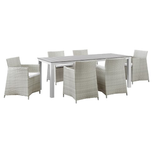 Junction 7pc Rectangle All-Weather Wicker Patio Dining Set - GrayWhite - Modway - image 1 of 8