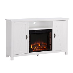 Adderline Farmhouse Style Electric Fireplace TV Stand White - Aiden Lane