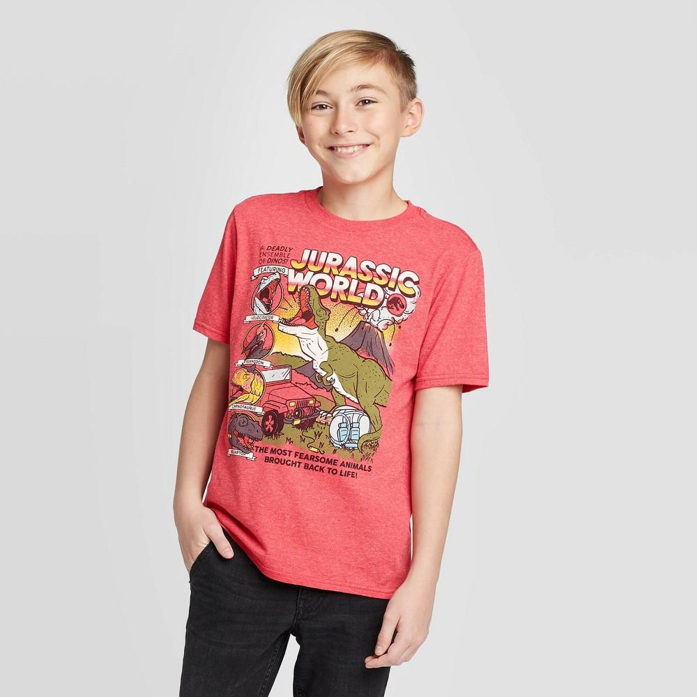Image of Boys' Jurassic World Comic T-Shirt - Deep Red Heather, Boy's, Size: XL
