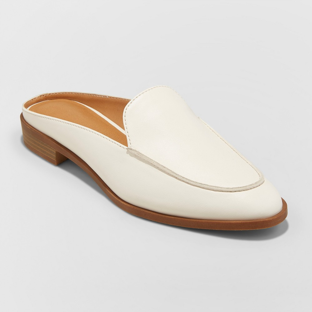Women's Amber Wide Width Backless Loafer Mules - Universal Thread White 8.5W, Size: 8.5 Wide