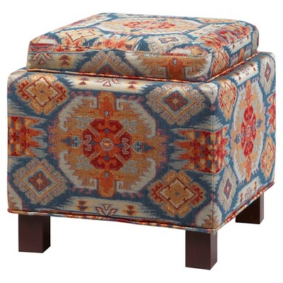 Shelly Square Storage Ottoman With Pillows Red