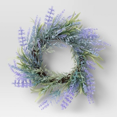 "13.5"" Artificial Lavender Wreath Purple - Threshold™"