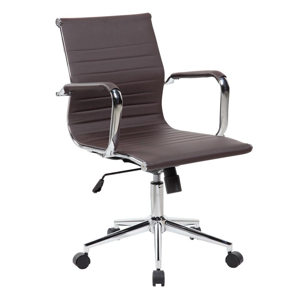 Modern Medium Back Executive Office Chair Brown - Techni Mobili