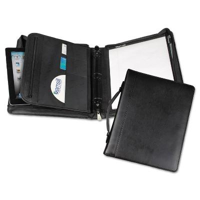 "Samsill Leather Multi-Ring Zippered Portfolio Two-Part 1"" Cap 11 x 13-1/2 Black 15540"