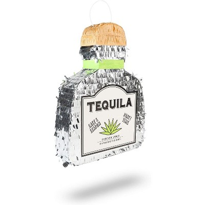 Tequila Bottle Pinata for 21st Birthday, Mexican Fiesta, Cinco de Mayo Party Supplies Decorations, Adults 16.5 x 13 inches