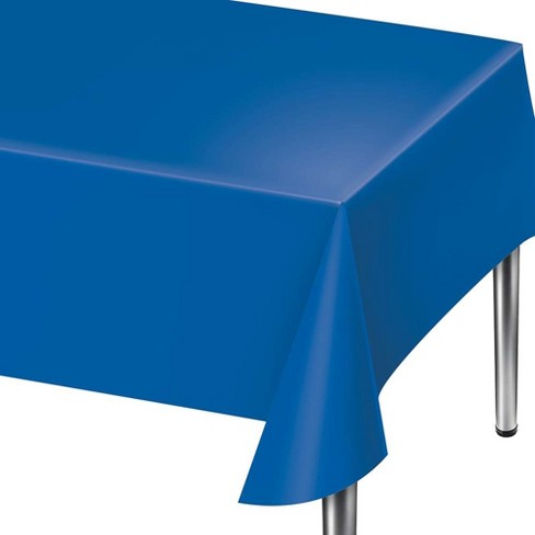 "108"" x 54"" Solid Blue Plastic Tablecloth - image 1 of 1"