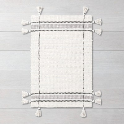 2' x 3' Simple Border Stripe with Corner Tassel Rug White/Gray - Hearth & Hand™ with Magnolia