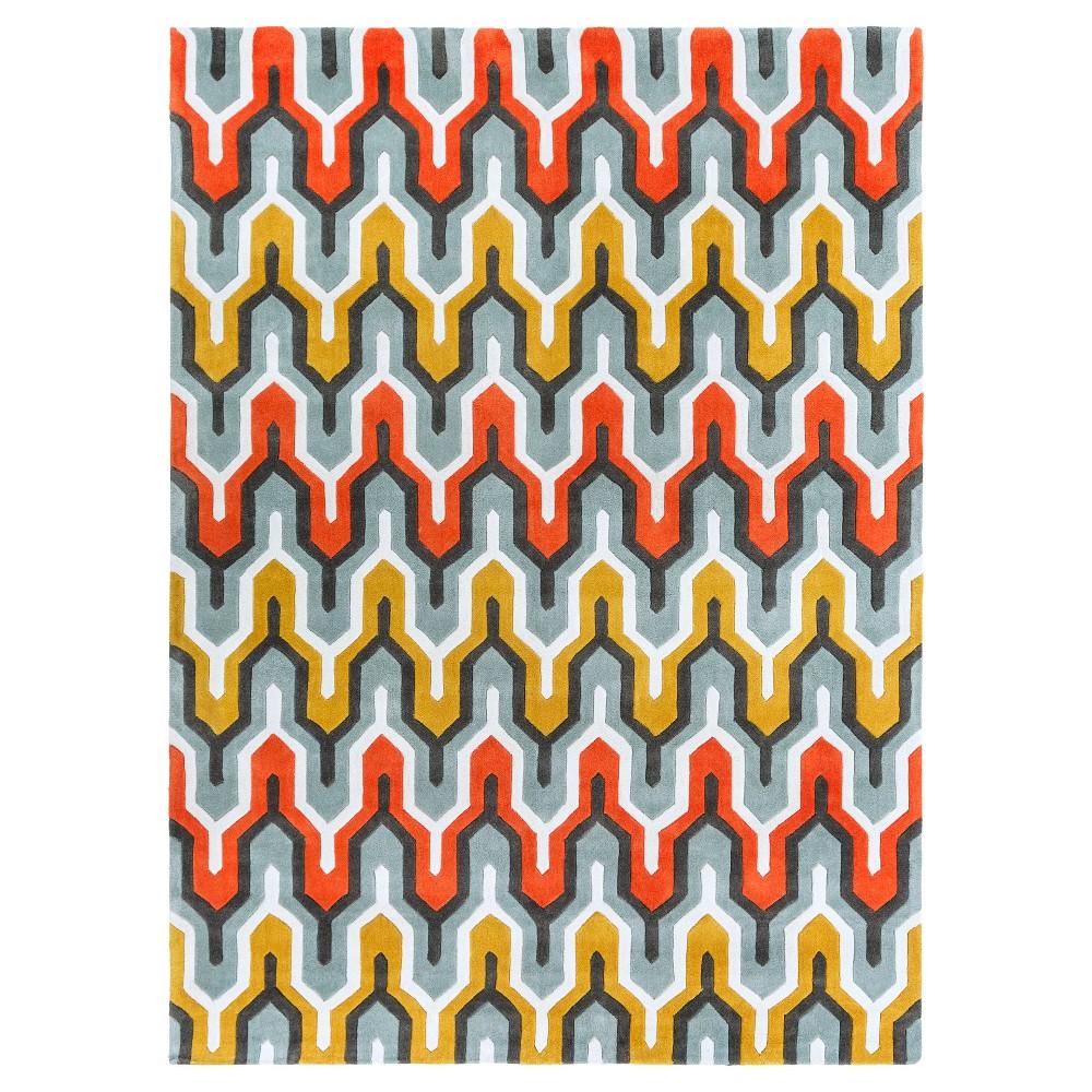 Elva Area Rug - Sea Foam, Bright Orange - (8' x 11') - Surya, Seafoam