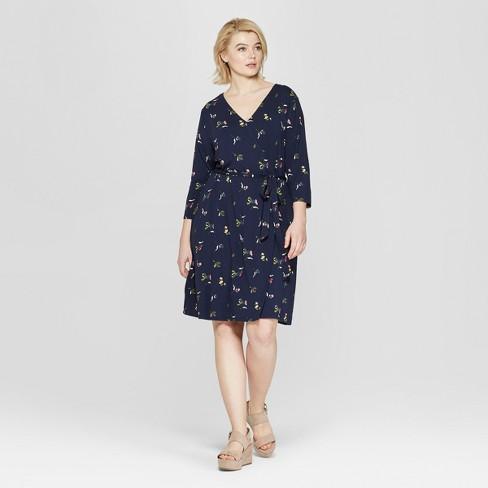 Women\'s Plus Size Floral Print 3/4 Sleeve Wrap Midi Dress - Ava ...