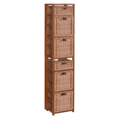 "67"" Flip Flop Square Folding Bookcase with Wicker Storage Baskets Red/Natural - Regency"