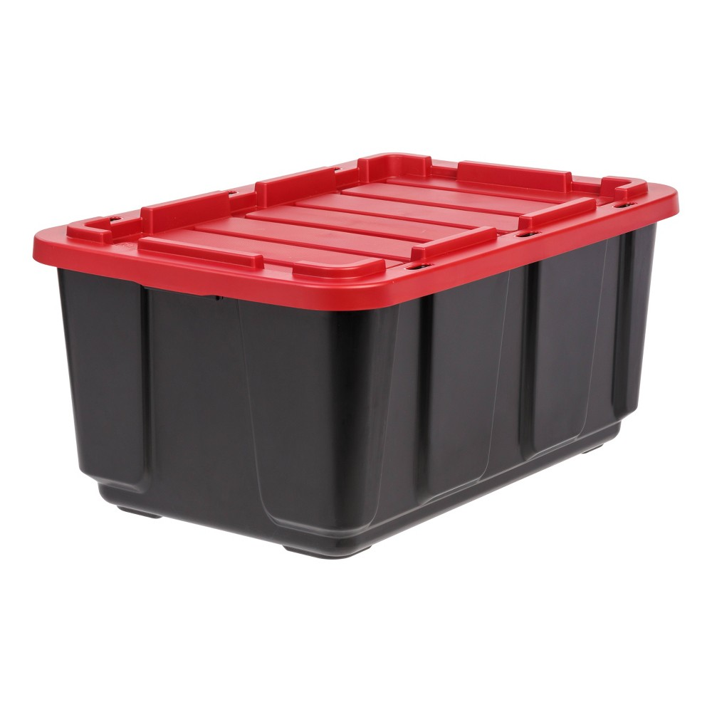 Image of IRIS 27gal Utility Tough Tote With Lid - Red/Black