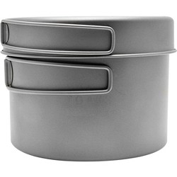 TOAKS Titanium Outdoor Camping Cook Pot with Pan and Foldable Handles