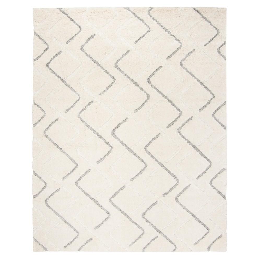 Cream/Gray Geometric Loomed Area Rug 6'7