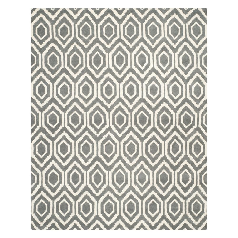 10'X14' Geometric Tufted Area Rug Dark Gray/Ivory - Safavieh Product Image