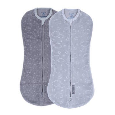 SwaddleMe Pod in Soft & Cozy Velboa Swaddle Wrap - Clouds & Stars - 0-2 Months - 2pk