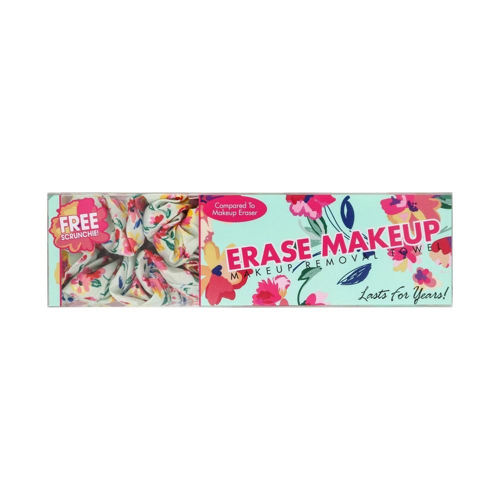 Image of Erase Makeup Floral Reusable Makeup Removal Towel plus Scrunchie