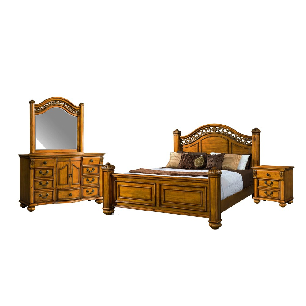 Image of 4pc Barrow King Poster Bedroom Set Oak - Picket House Furnishings