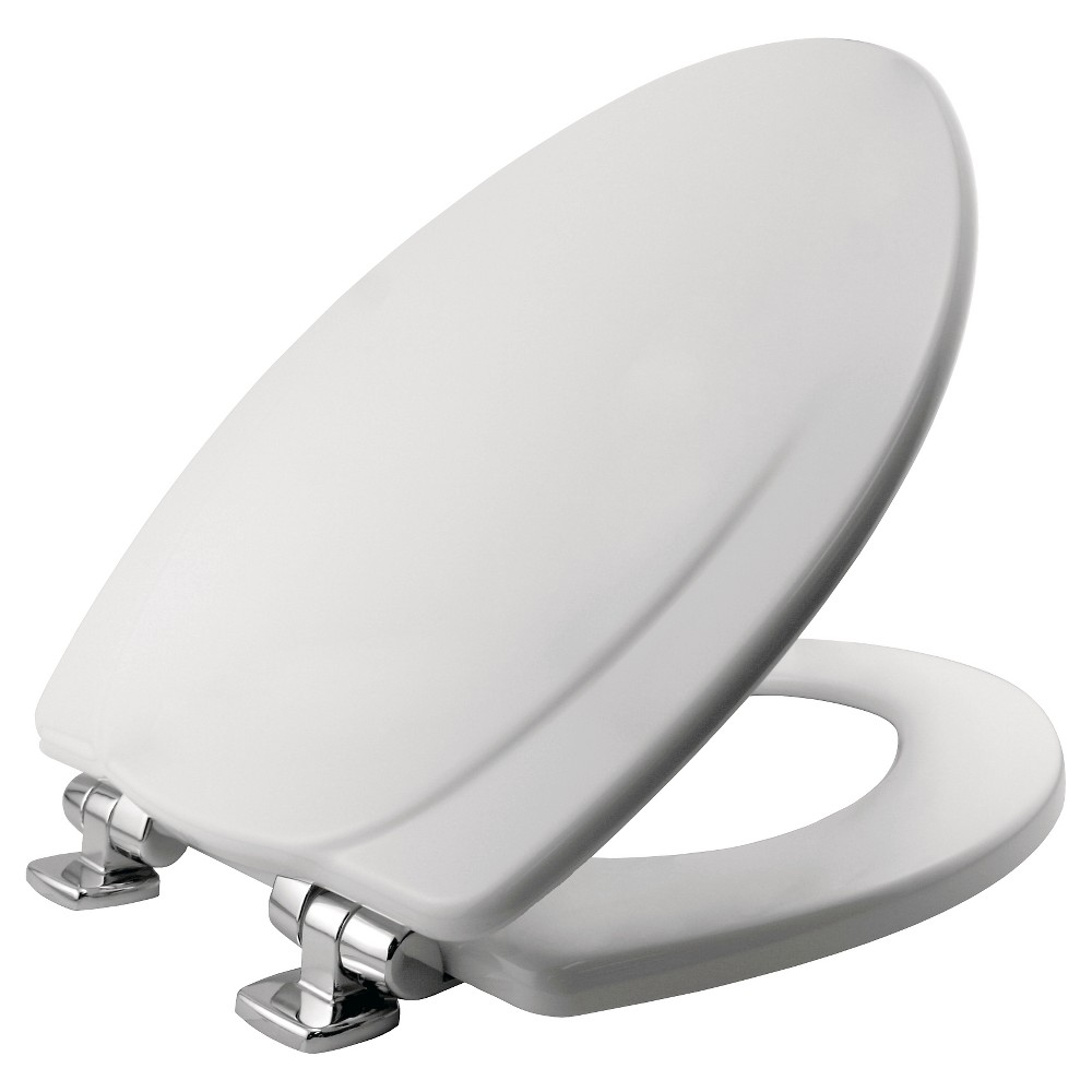 Mayfair Elongated Molded Wood Seat with Chrome Whisper Close Hinge and Sta-Tite Toilet Seat White - Mayfair