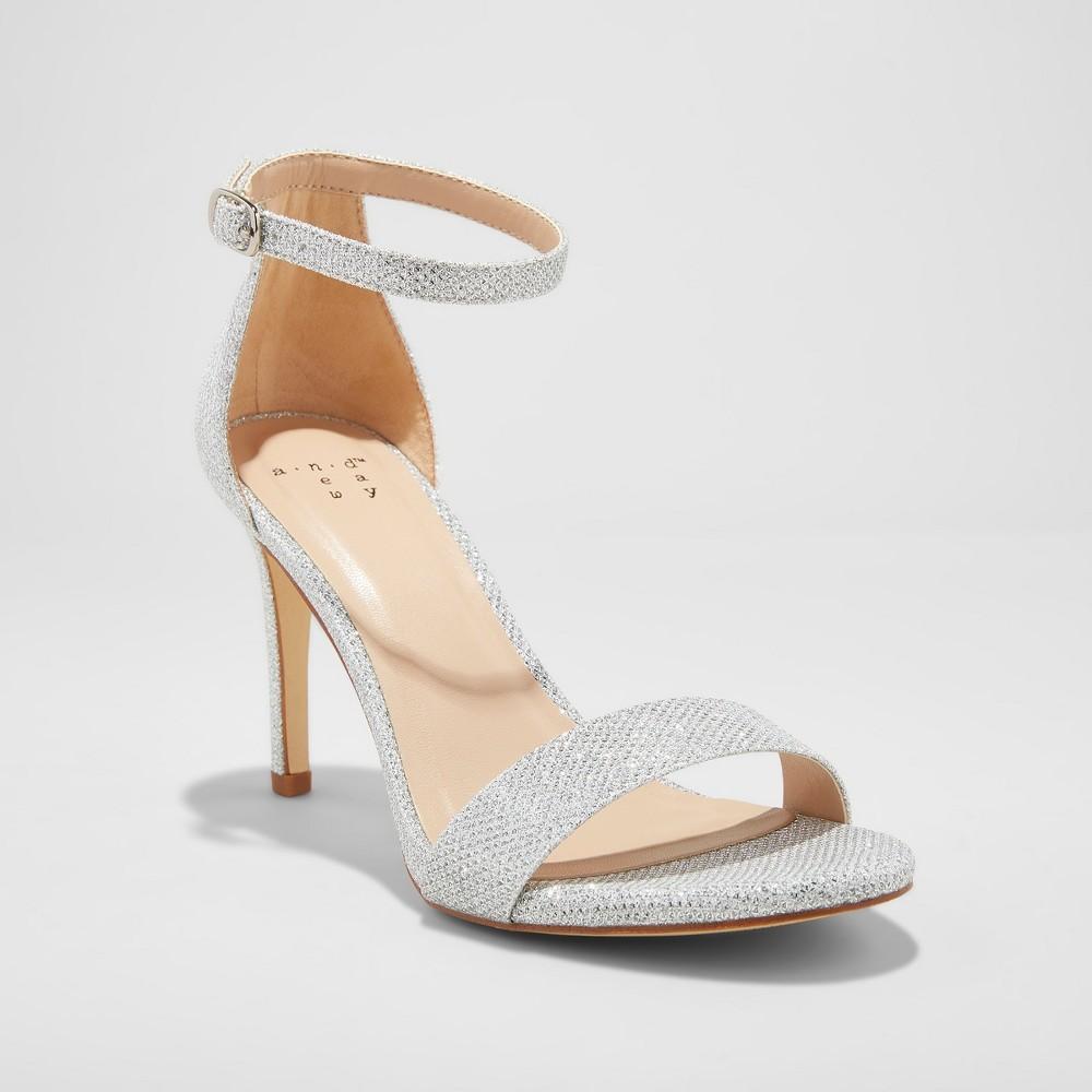 Women's Myla Satin Shimmer Stiletto Pump Heel Sandal - A New Day White 12