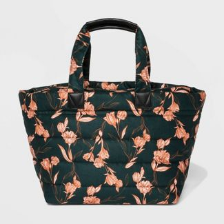 Floral Zip Closure Weekender Bag - A New Day™ Dark Green