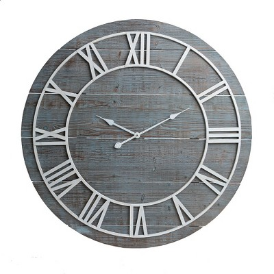 36  Rustic Washed Wood Plank Frameless Wall Clock Gray - Patton Wall Decor