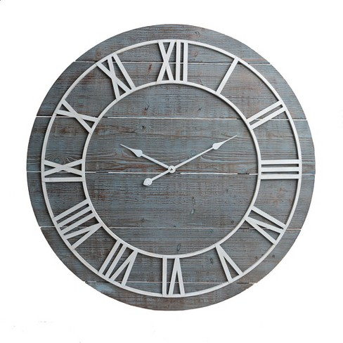 36 Rustic Washed Wood Plank Frameless Wall Clock Gray Patton Decor