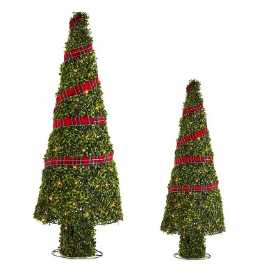 NOMA Pre Lit Incandescent Light Up Winter Green Garden Cone Trees Outdoor Decorations with Red Ribbon Details and Yard Stakes, Set of 2
