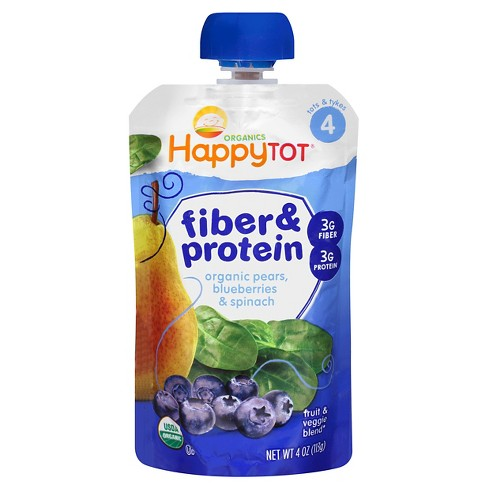 Happy Tot Fiber & Protein Organic Pears Blueberries Spinach - 4oz - image 1 of 4