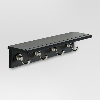 18  Hennepin Hook Rack with Ledge - Black/Nickel - Threshold™