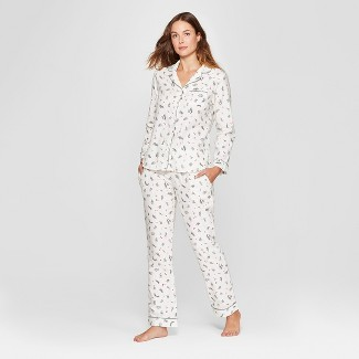 Women's Holly Berry Flannel Notch Collar Pajama Set - Gilligan & O'Malley™ Cream S