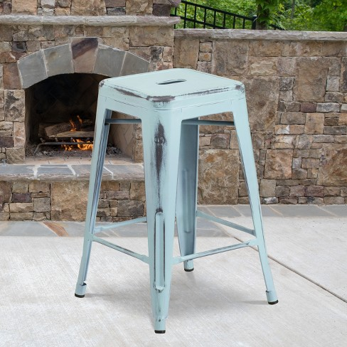 """Flash Furniture Commercial Grade 24"""" High Backless Distressed Metal Indoor-Outdoor Counter Height Stool - image 1 of 4"""