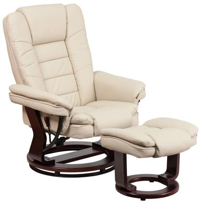 Contemporary Leather Recliner with Horizontal Stitching and Ottoman - Flash Furniture