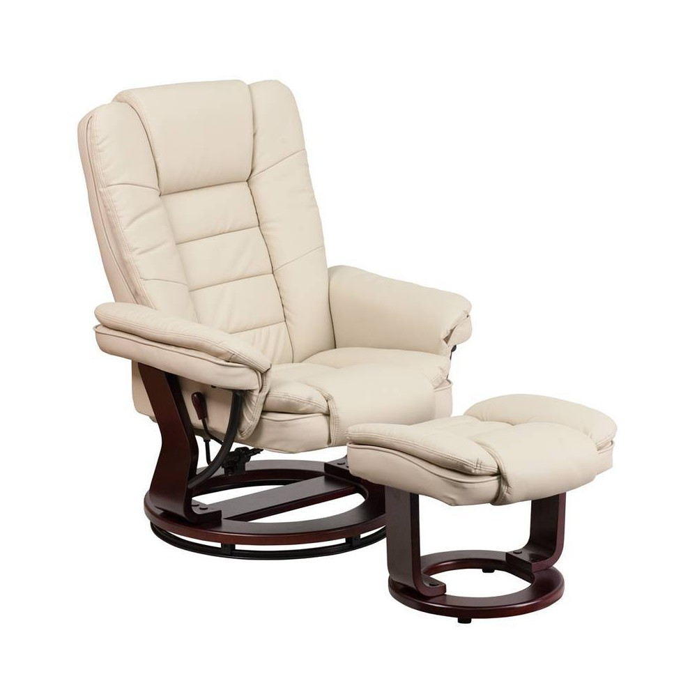 Image of 2pc Leather Recliner and Ottoman Set Beige - Flash Furniture