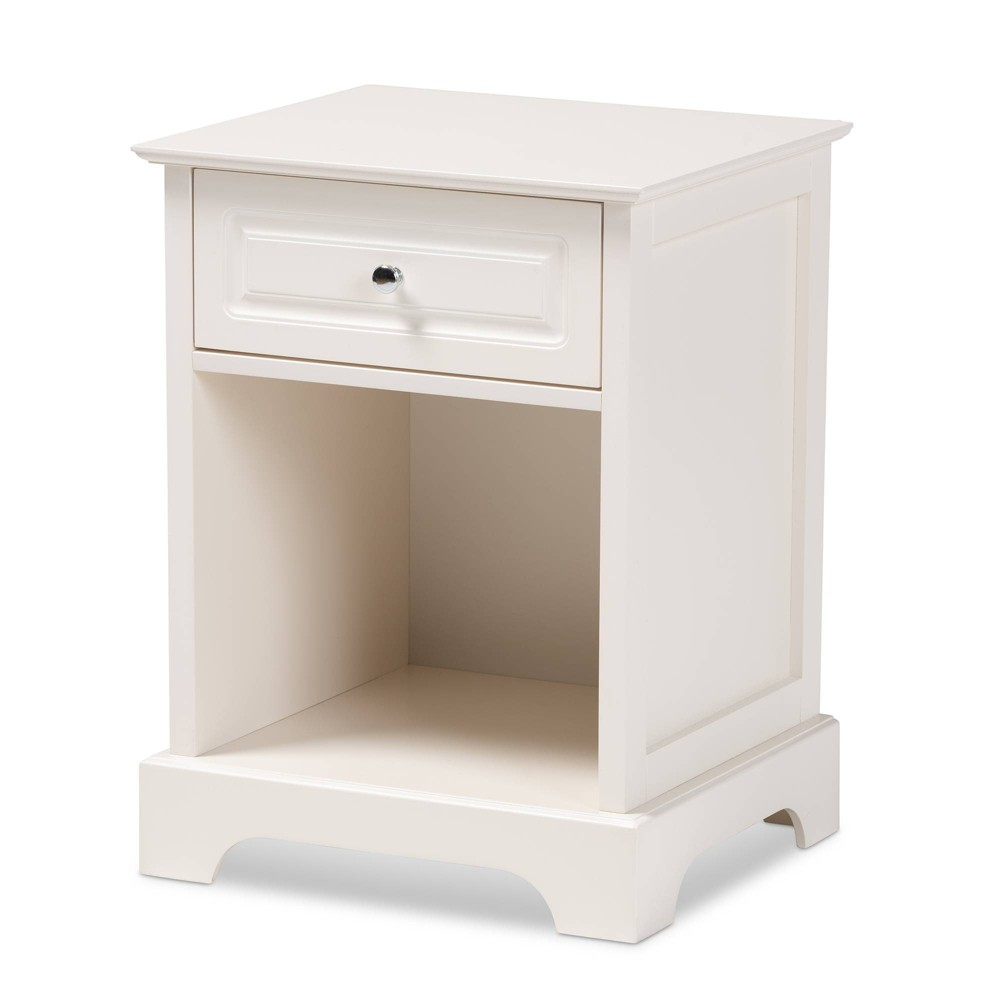 Image of 1 Drawer Chase Wood Nightstand White - Baxton Studio