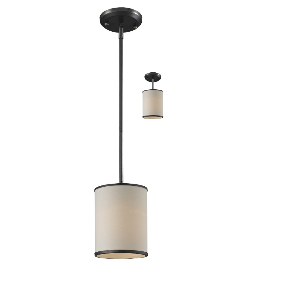 Convertible Pendant with Crème Linen Glass Ceiling Lights - Z-Lite