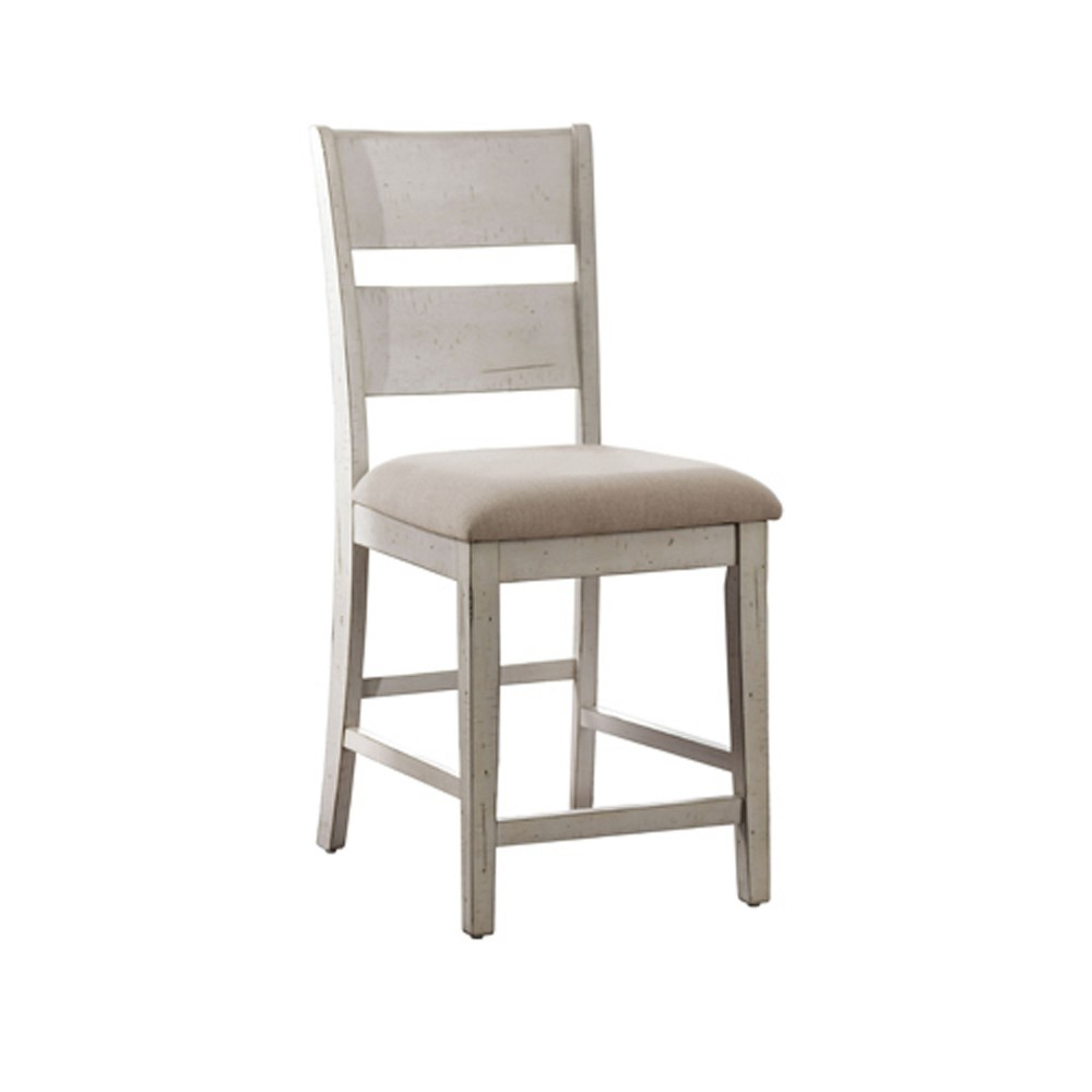 Lowe Upholstered Counter Height Dining Chair Set of 2 Antique White - Sun & Pine