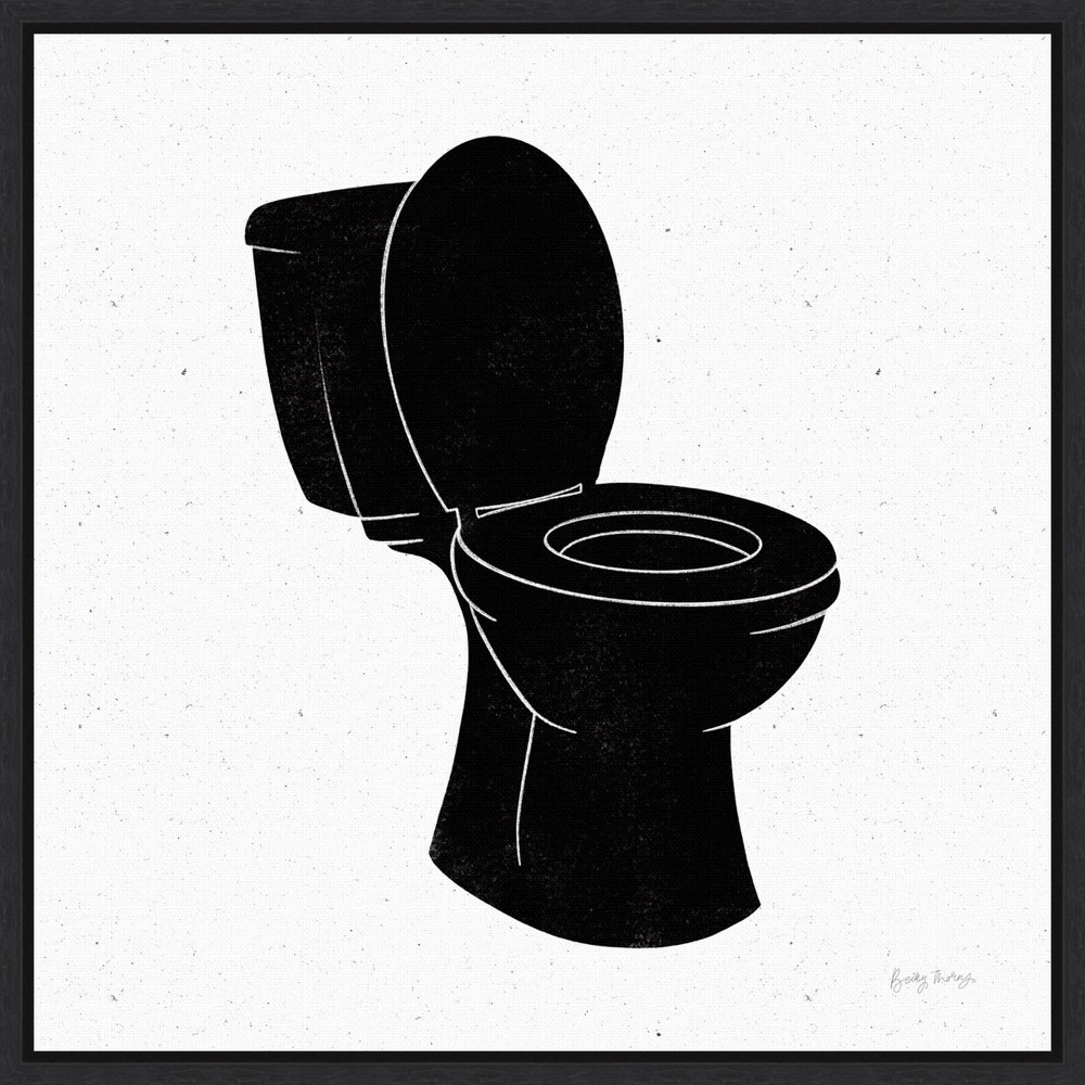 16 34 X 16 34 Bathroom Puns Iii No Words By Becky Thorns Framed Canvas Wall Art Black Amanti Art