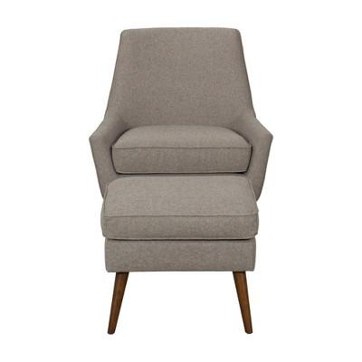 Dean Modern Accent Chair With Ottoman Light Brown   Homepop : Target