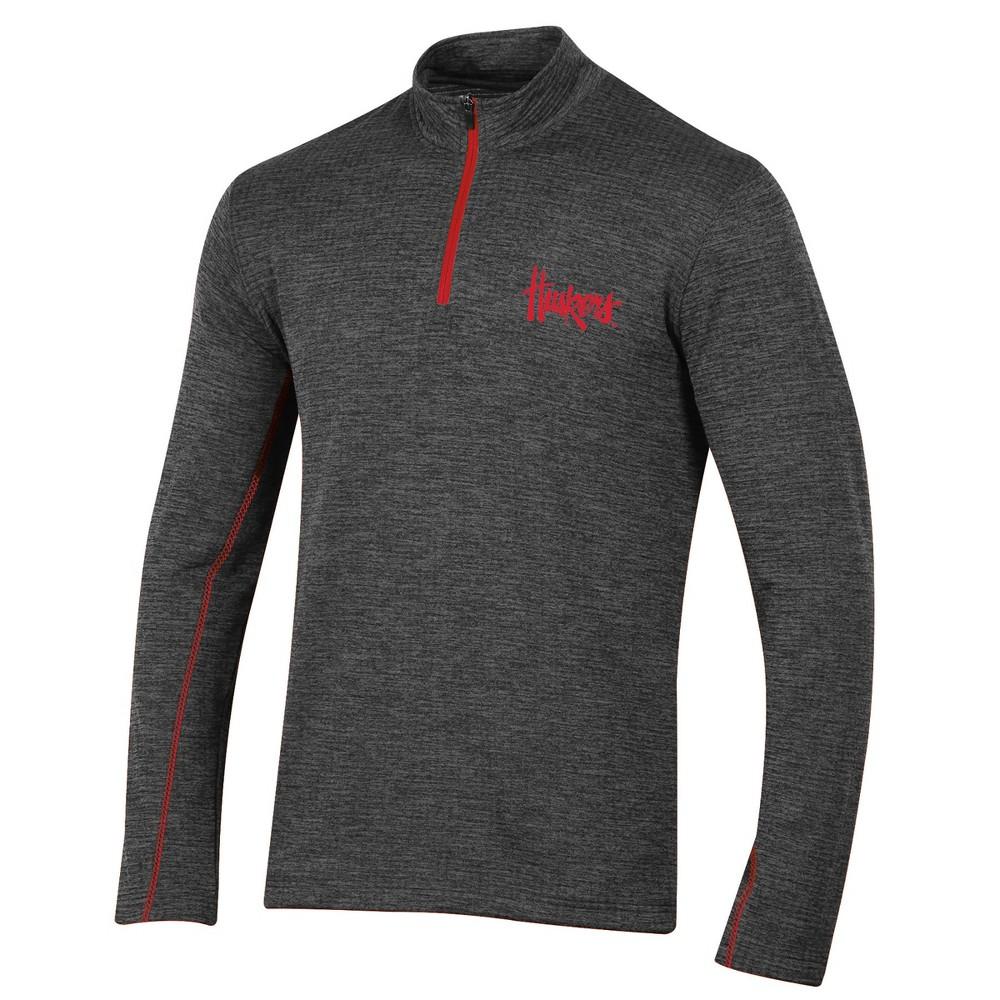 Nebraska Cornhuskers Men's Long Sleeve Digital Textured 1/4 Zip Fleece - Gray M