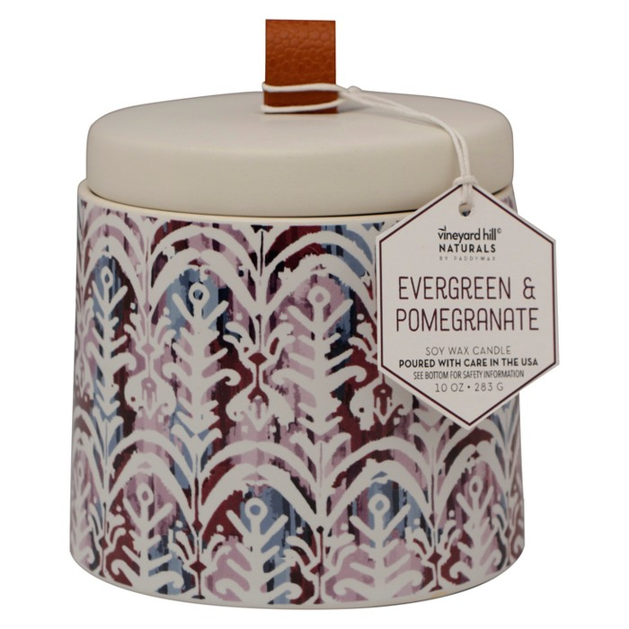 10oz Ikat Ceramic Jar Candle Evergreen Pomegranate - Vineyard Hill Naturals By Paddywax - image 1 of 2