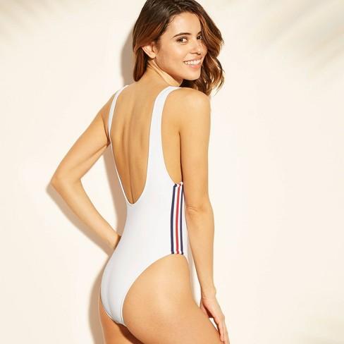 c7cf2ac290486 Women's Sport Elastic Scoop Back One Piece Swimsuit - Xhilaration™ White :  Target