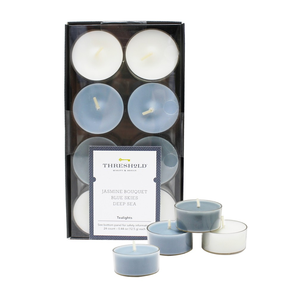 "Image of "".31"""" 24pk Tealight Candles Set Jasmine Bouquet/Blue Skies/Deep Sea - Threshold , White Blue"""
