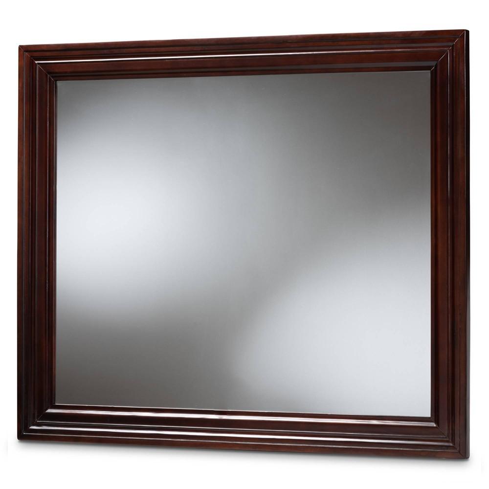 Image of Barton Dresser Mirror Dark Brown - Baxton Studio