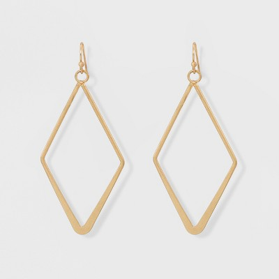 Open Work Diamond Shape Drop Earrings - Universal Thread™ Gold