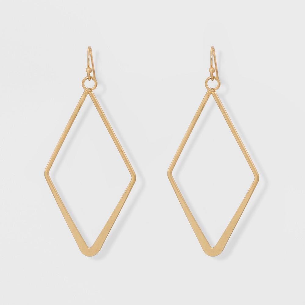 Open Work Diamond Shape Drop Earrings Universal Thread 8482 Gold